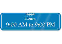 9:00 AM To 9:00 PM Pool Hours Sign