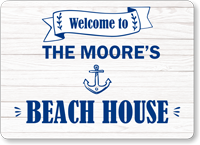 Add Family Name Personalized Beach House Sign