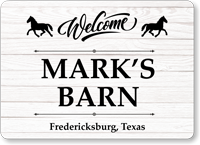 Add Name And Place Welcome Barn Personalized Sign