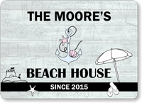 Add Name Date Personalized Beach House Sign