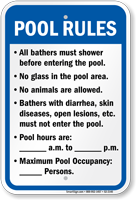 Alabama Pool Rules Sign