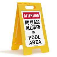 Attention No Glass Allowed In Pool Area Floor Sign