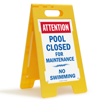 Attention Pool Closed For Maintenance Floor Sign