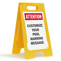 Attention Pool Warning Message Custom Floor Sign
