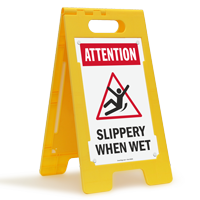 Attention Slippery When Wet Floor Sign