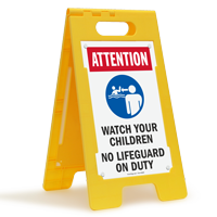Attention Watch Your Children No Lifeguard Floor Sign