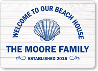 Beach House Family Name Personalized Sign