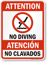 Bilingual Attention No Diving Sign with Symbol