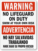 Bilingual No Lifeguard, Swim At Own Risk Sign