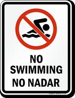 Bilingual No Swimming Prohibition Sign