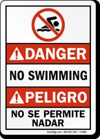 Bilingual No Swimming No Se Permite Nadar Sign