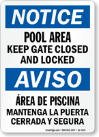 Bilingual Pool Area, Keep Gate Closed Sign