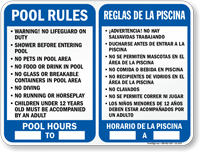 Bilingual Pool Area Rules and Timings Sign