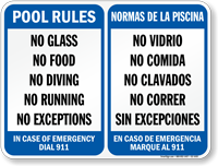 Bilingual Pool Area Rules, Emergency Phone Number Sign