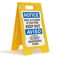 Bilingual Pool Closed, Keep Out Floor Sign