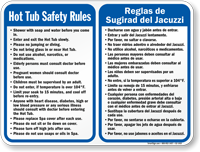 Bilingual Spa Hot Tub Safety Rules Sign