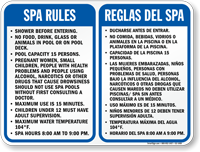 Bilingual Spa Rules, Shower Before Entering Sign