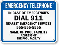 Emergency Telephone Custom Sign