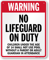 California No Lifeguard On Duty Pool Sign