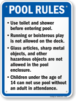Pool Rules Sign for California