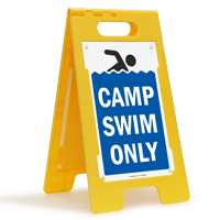 Camp Swim Only Floor Sign