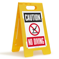 Caution No Diving Floor Sign