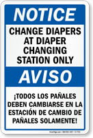 Bilingual Change Diapers At Changing Station Notice Sign