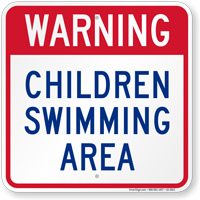 Children Swimming Area Pool Warning Sign