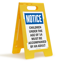 Children Under Age Of 14 Accompanied By Adult Floor Sign