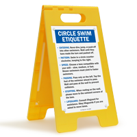 Circle Swim Etiquette Floor Sign