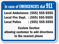 Connecticut Custom Emergency Telephone Sign