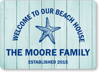 Custom Beach House Sign With Family Name And Date