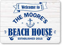 Custom Beach House Welcome Sign with Text and Year