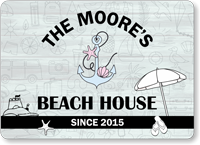 Custom Beach House Welcome Sign with Text or Name