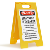Danger Lightning In Area Standing Floor Sign