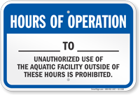 Delaware Hours Of Operation Pool Sign