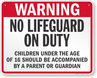 Delaware No Lifeguard On Duty Sign