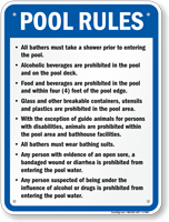 Pool Rules Sign for Delaware