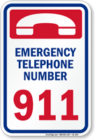 California Emergency Telephone Number 911 Sign