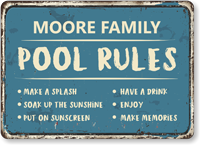 Family Name Have A Drink Personalized Pool Rules Sign