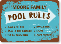 Family Name Make A Splash Personalized Pool Rules Sign