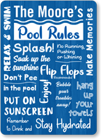 Family Name Personalized Pool Sign With Cute Graphics