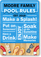 Family Name Personalized Pool Sign With Fun Graphics