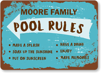 Family Name Put Sunscreen Personalized Pool Rules Sign