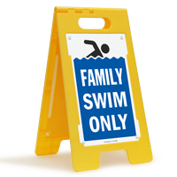 Family Swim Only Floor Sign
