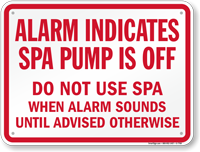 Spa Alarm Sign for Florida