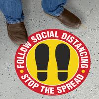 Follow Social Distancing Stop The Spread SlipSafe Floor Sign
