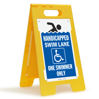 Handicapped Swim Lane One Swimmer Only Floor Sign