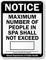 Spa Occupancy Sign for Illinois
