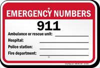 Emergency Numbers Pool Sign